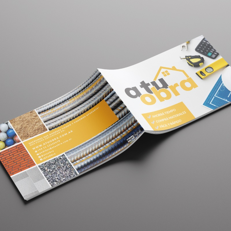 A tu obra · Naming + Logo + Brochure + Tiendanube